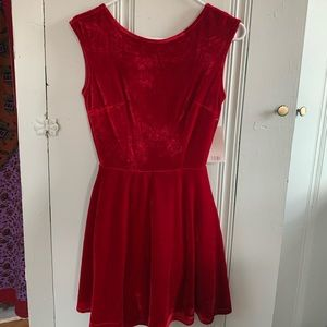 Red Velvet Open Back Dress (NEW)
